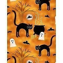 Clearance Sale~Spooky Vibes Halloween Cats Cotton Fabric by Wilmington Prints]()