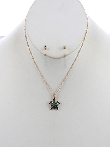 Fancy Turtle Charm (Green charm chain turtle necklace and earring set Fashion Jewelry FancyCharm)