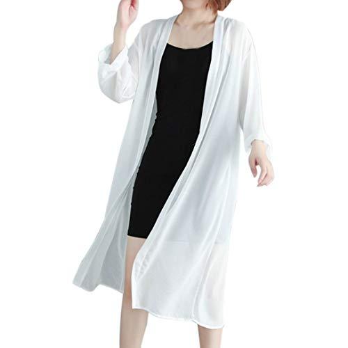 TOPUNDER Chiffon Cardigan for Women Thin Long Loose Sunscreen Kimono Cover up ()