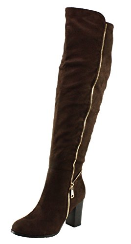Forever Womens Frances-17 Faux Suede Chunky Block Heel Over The Knee High Heel Boots Brown