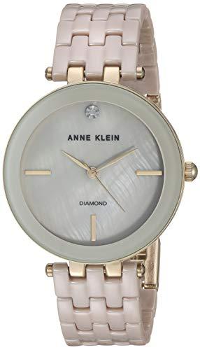 Anne Klein Women s AK 3310TNGB Diamond-Accented Gold-Tone and Tan Ceramic Bracelet Watch
