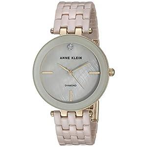 Anne Klein Women's AK/3310TNGB Diamond-Accented Gold-Tone and Tan Ceramic Bracelet Watch