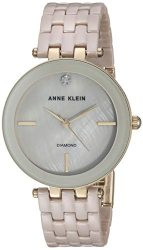 Anne Klein Women's AK/3310TNGB Diamond-Accented Gold-Tone and Tan Ceramic Bracelet ()