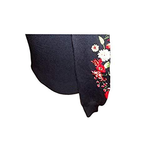 Maglioncino Lunga Fondo Xs In Decorazione Con Larga Desigual Floreale Girocollo Tg manica Nero 6TwAdgqf