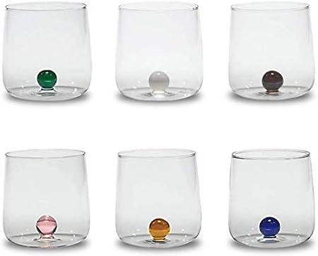 Zafferano Bilia - Vaso Tumbler de Vidrio Transparente Hecho a Mano, Decorado con una Bola de Vidrio de Color en el Interior, cl 44 h 90mm d 88mm, Juego de 6 Piezas - Colores Variados