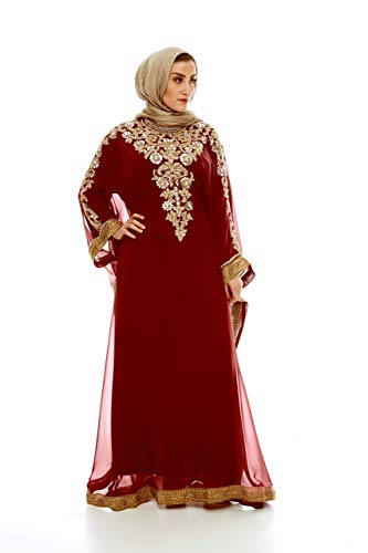 Royal Bliss Kaftan for Women, Long Sleeve Maxi Dress & Formal Gown (Maroon), 100% Chiffon Made with Adjustable Hidden Waist Strap, Designed with Alluringly Beautiful Gold Beads and Crystal ()