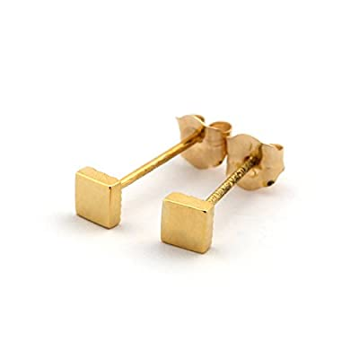 14k Yellow, White or Rose Gold Tiny Square Stud Earrings