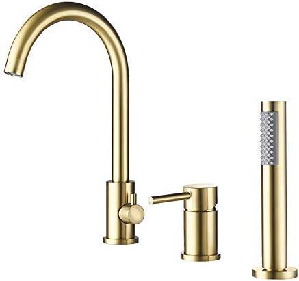 デッキマウント浴槽の蛇口シングルハンドル真鍮バスシャワーセット曲線デザイン浴室浴槽ミキサータップハンドヘルドシャワー付き,クロム