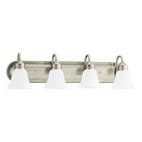 Sea Gull Lighting 44853-965 Gladstone Four-Light Bath or Wall Light Fixture with Satin Etched Glass Shades, Antique Brushed Nickel (Backplates Antique Brushed Satin)