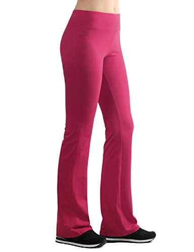 Lock and Love LL WB961 Womens Slim-Fit Bootleg Yoga Pants M Fucshia