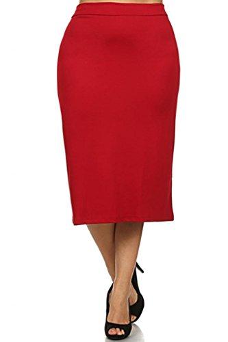 Brightly Plus Size Elegant High Waisted Midi Pensil Skirt for Women (Red, XXXL)