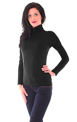 Damen Microfaser Rolli Rollkragen Langarm Shirt Pullover Einfarbig Thermo Material