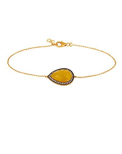 SIVALYA HAZEL Pave Crystals and Yellow Gemstone Bracelet in 18K Gold Plated Sterling Silver, Great Gift for - Gem 18k