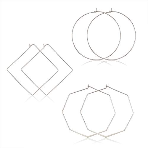(YAHPERN Geometric Hoop Earrings for Women Lightweight Thin Wire Thread Octagon Square Hoop Earrings Fashion Minimalist Jewelry for Women (Silver Square Circle Octagon))