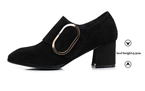 En Talons Pour Givré Boucle Black Chaussures épais Cuir Chaussures MUYII En à Métal Femmes à xPH4w
