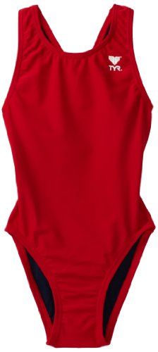 TYR Sport Girl's Solid Maxback Swim Suit (Red, 28)