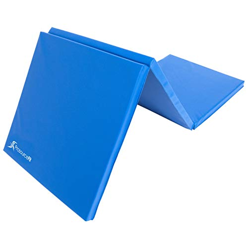 Prosource Fit Tri-Fold Folding Thick Exercise Mat (Exercise Equipment Mat Blue)