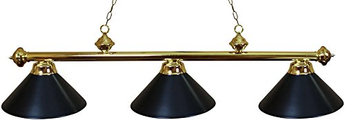(Ozone Brass Pool Table Light with Black Shades)