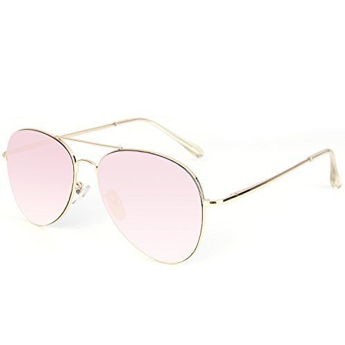 SOJOS Classic Aviator Mirrored Flat Lens Sunglasses Metal Frame with Spring Hinges SJ1030 With Gold Frame/Pink Mirrored Lens by SOJOS (Image #2)