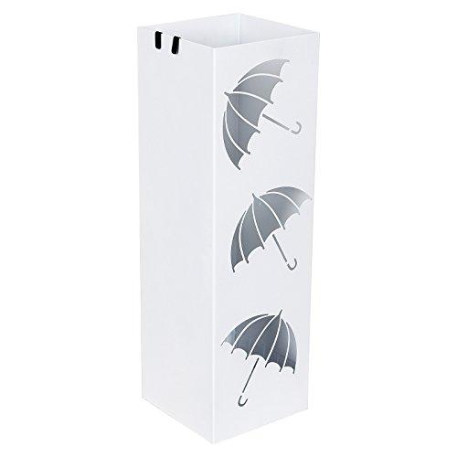 Black LUC23B SONGMICS Metal Umbrella Stand with Hooks and drip tray Round Umbrella Holder Rack 49 x /Ø 19.5 cm