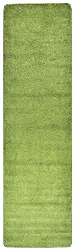 RugStylesOnline Comfy Solid Color Runner Area Rug 26 Inch Wide x Your Choice Length More Color Options Available Slip Skid Resistant Rubber Back (Sage Green, 2