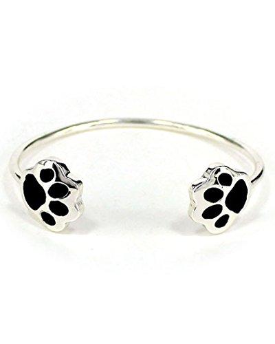 Silver-tone Dog Puppy Paw Print Cuff Bracelet