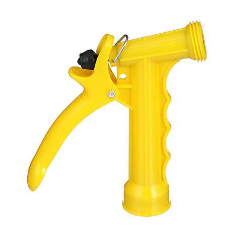 SeaChoice 79601 Plastic Hose Nozzle with Locking Spray Lever and Stainless Steel Return Spring Yellow 5-1/2