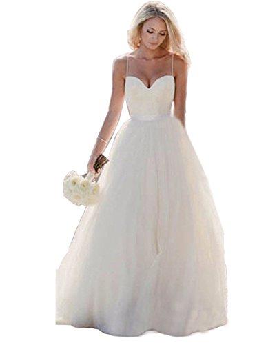 d05d92ff03cf YinWen Women's Boho Beach Wedding Dress Long Tulle Spaghetti Straps Bridal  Gown. Home/Bride Dresses/YinWen Women's Boho Beach Wedding Dress Long ...