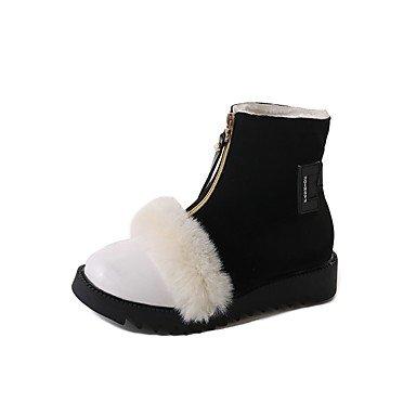CN38 Tobillo Invierno US7 Botines Moda 5 UK5 Planas Cremallera Botas Negro EU38 Pu Botas Para Otoño Mujer Y RTRY 5 Botas Blanco De Tacón Zapatos De Casual 6wqxqFp