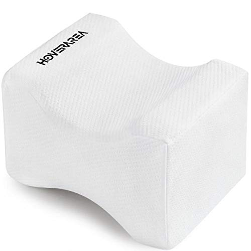 Knee Pillow, HOVERAREA Orthopedic Memory Foam Leg Pillow for Sleeping, Sciatica Relief, Leg Pain, Back Pain, Pregnancy, Hip and Joint Pain- Knee Support Rest Pillow Wedge Contour