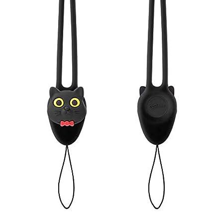 Miao Chat Noir pour Coque de T/él/éphone Portable Carte didentit/é Porte-Badge Porte-cl/és Cl/és pour Enfant Fille Femme Lani/ère de Cou Courroie Cordon Cartoon Mignon Doux et Elastique en Silicone