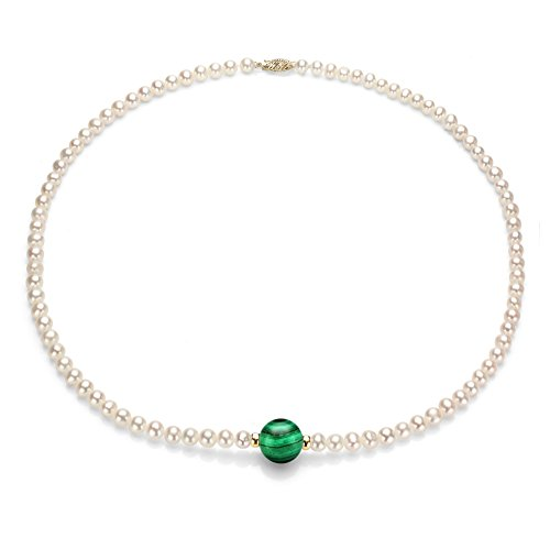 14K Yellow Gold 4-5mm White Freshwater Cultured Pearl and 10mm Simulated Malachite Gemstone Necklace 18'' ()