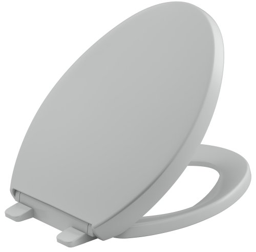 - KOHLER K-4008-95 Reveal Quiet-Close with Grip-Tight Bumpers Elongated Toilet Seat, Ice Grey
