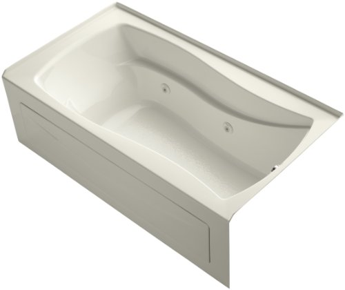 KOHLER 1224-RAW-96 Mariposa 66-Inch x 36-Inch Alcove Whirlpool with Bask Heated Surface, Integral Apron, Tile Flange, and Right-Hand Drain, Biscuit
