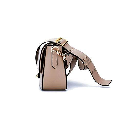 Práctico Tamaño Remaches Coreano Milktea color De Viajes Tendencia Tamaño Un Mujer Isogea Bolso Retro Negro Compras Moda XqyOPv