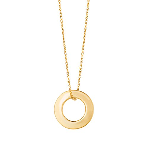 Beauniq 14k Yellow Gold Open Circle Pendant Necklace, (14k Circle Necklace)