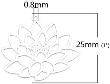 perlesmania.com PS110206605 Pax 10 Estampes Pendentif Filigrane Fleur de Lotus Yoga Couleur Argent Platine de 25mm