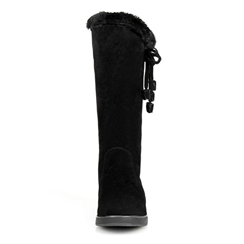 Fur Bandage Black Collar Boots BalaMasa Womens Bowknot Spun Frosted Gold BcIUSq