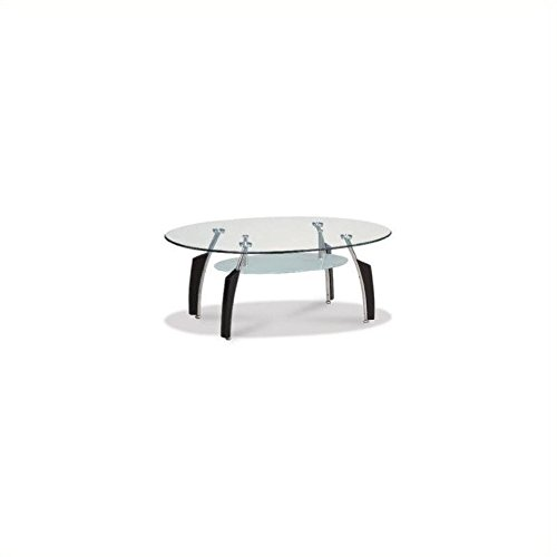 Global Furniture Occasional Coffee Table with Black Legs, Clear/Silver