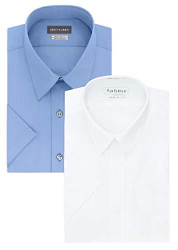 Van Heusen Men's Short Sleeve Poplin Solid Dress Shirt, White/Cameo Blue, 15