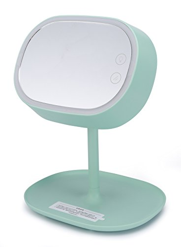 Xinzhi Dimmable Touch Sensor LED Light Rechargeable Folding Makeup Mirror Creative 3-in-1 Cosmetic Mirror Desk Lamp Storage Shelf (mint green)