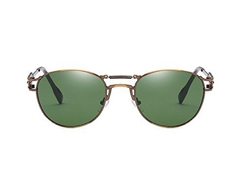 lunettes féminine personnalité polarisées non Bronze punk vert Hellomiko rétro foncé de soleil de Lunettes masculine et 7wxFq1B0