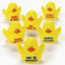 Fun Express - Motivational Rubber Duckies - Toys - Character Toys - Rubber Duckies - 12 Pieces ()