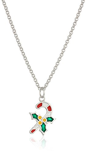 Fine Silver Plated Bronze Epoxy Candy Cane and Holly Pendant Necklace, 16 + 2