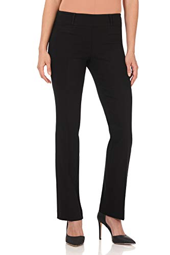 Rekucci Women's Ease in to Comfort Fit Barely Bootcut Stretch Pants (18,Black Stripes) ()