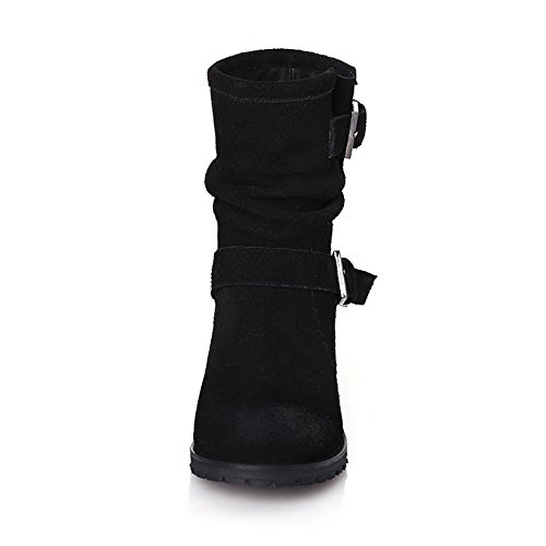 with and Kitten Women's heels Toe Round AmoonyFashion Boots Buckle Black Closed 8ZxaS