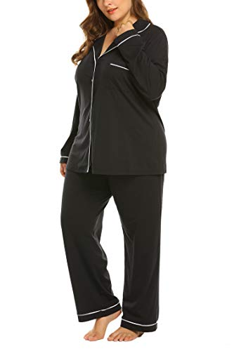 Top Pajama Plus Size (Women's Plus Size Long Sleeve Sleepwear Boyfriend Top 2 Piece Soft Pj Set 16W-24W)