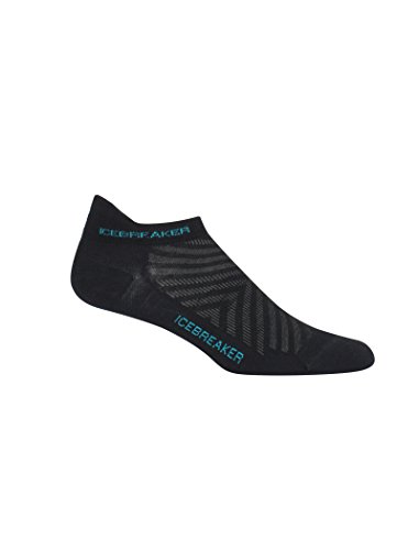 Icebreaker Merino Women's Run+ Ultralight Cushion Micro Socks, Black/Lagoon, Medium ()