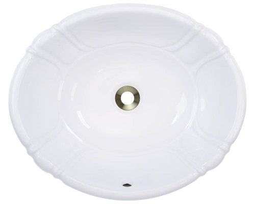 Polaris Sinks P5181OW White Porcelain Vessel / Drop-In Bathroom Vanity Sink (Oval Vanity Sink)