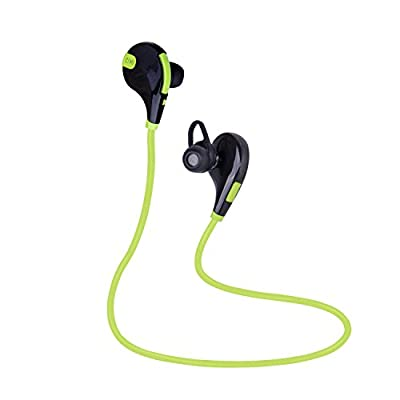 Bestfy QY7 Bluetooth 4.1 Wireless Sports Headphones Noise Cancelling Sweatproof In-ear Stereo Earbuds Earphones with Microphone for iPhone iPad iPod and Android Devices (Green)